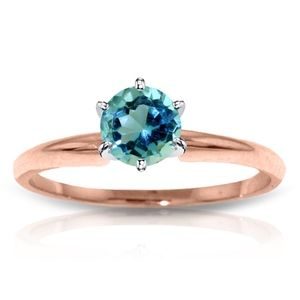 SOLID GOLD SOLITAIRE RING WITH NATURAL BLUE TOPAZ